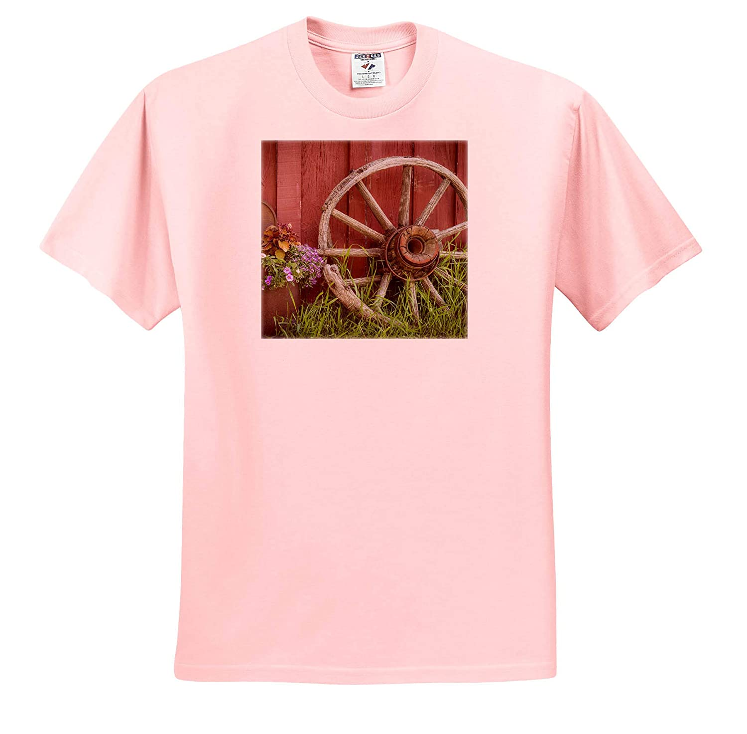 - Adult T-Shirt XL Vintage Wagon Wheel and Flowers Against a red barn ts/_313015 Farms 3dRose Danita Delimont