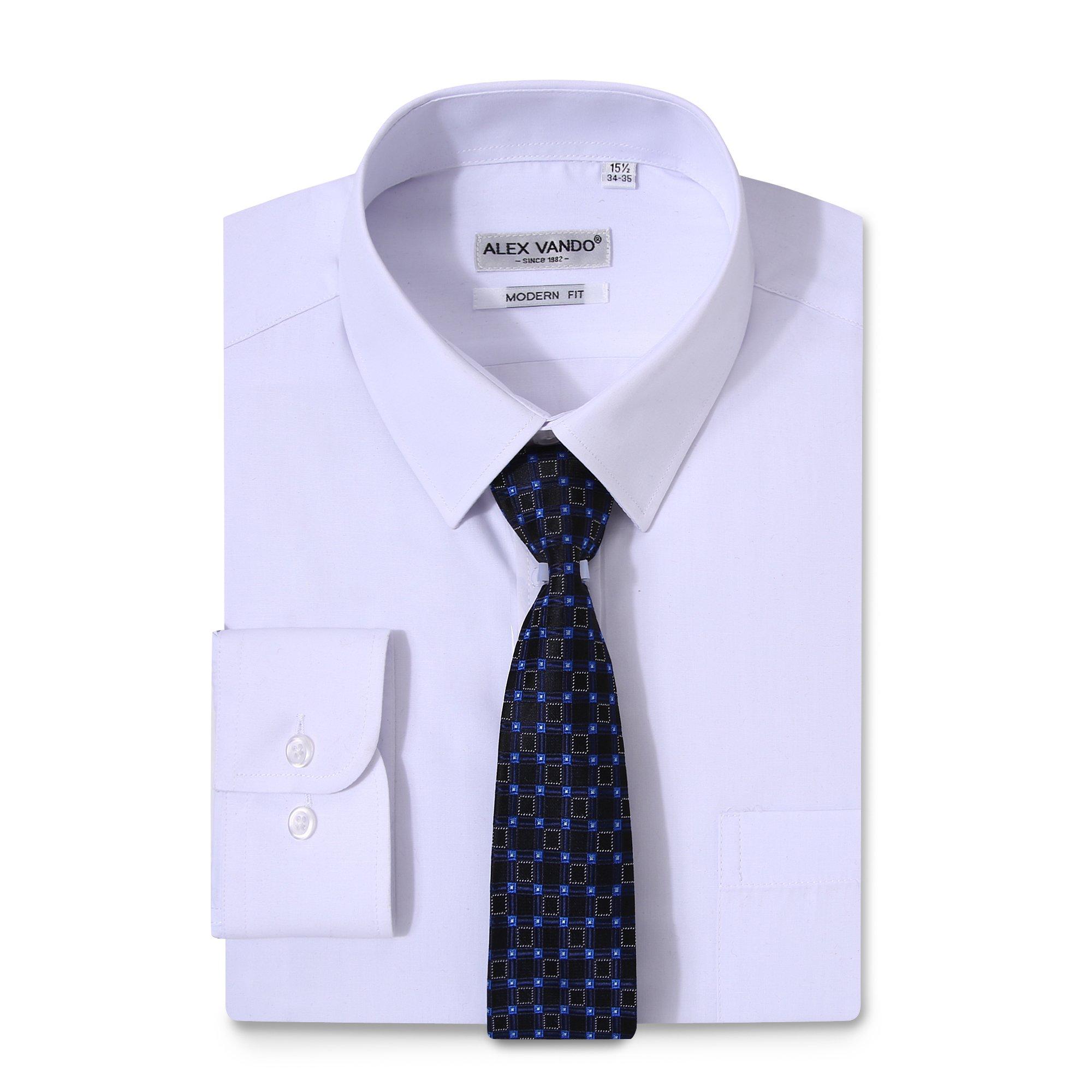 Alex Vando Mens Dress Shirts Solid Regular Fit Long Sleeve Point Collar Shirt,White,16.5 32/33