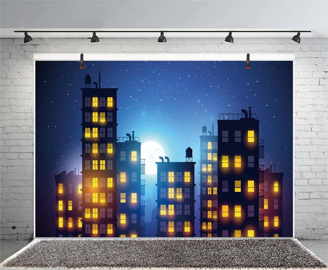 LYLYCTY 10X7ft Cartoon City Night View Backdrop Yellow Light Circled Town Photography Background LYGE553