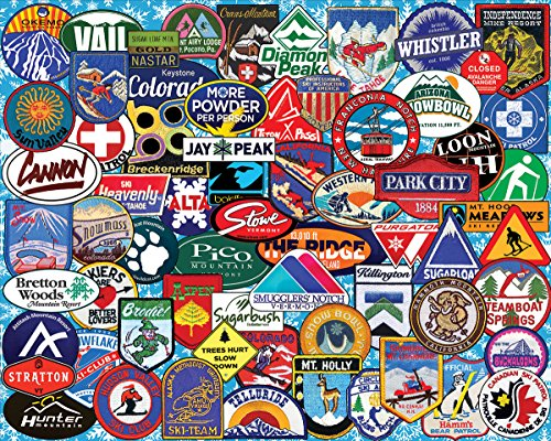 White Mountain Puzzles Ski Badges - 1000 Piece Jigsaw Puzzle