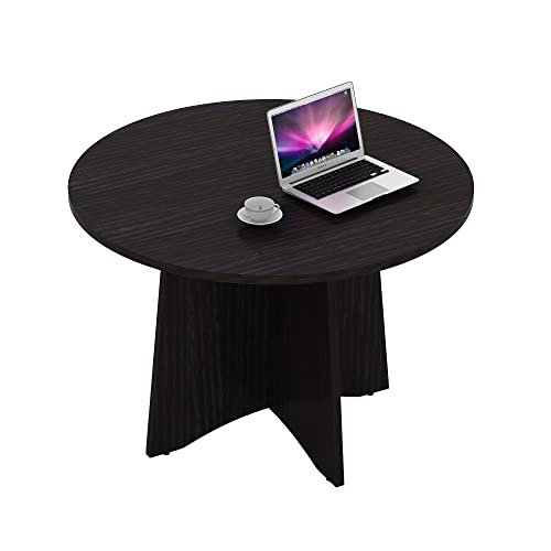 Sunon 48 Inch Laminate Round Conference Table Dining Table with X-Shaped Wood Base Dark Oak