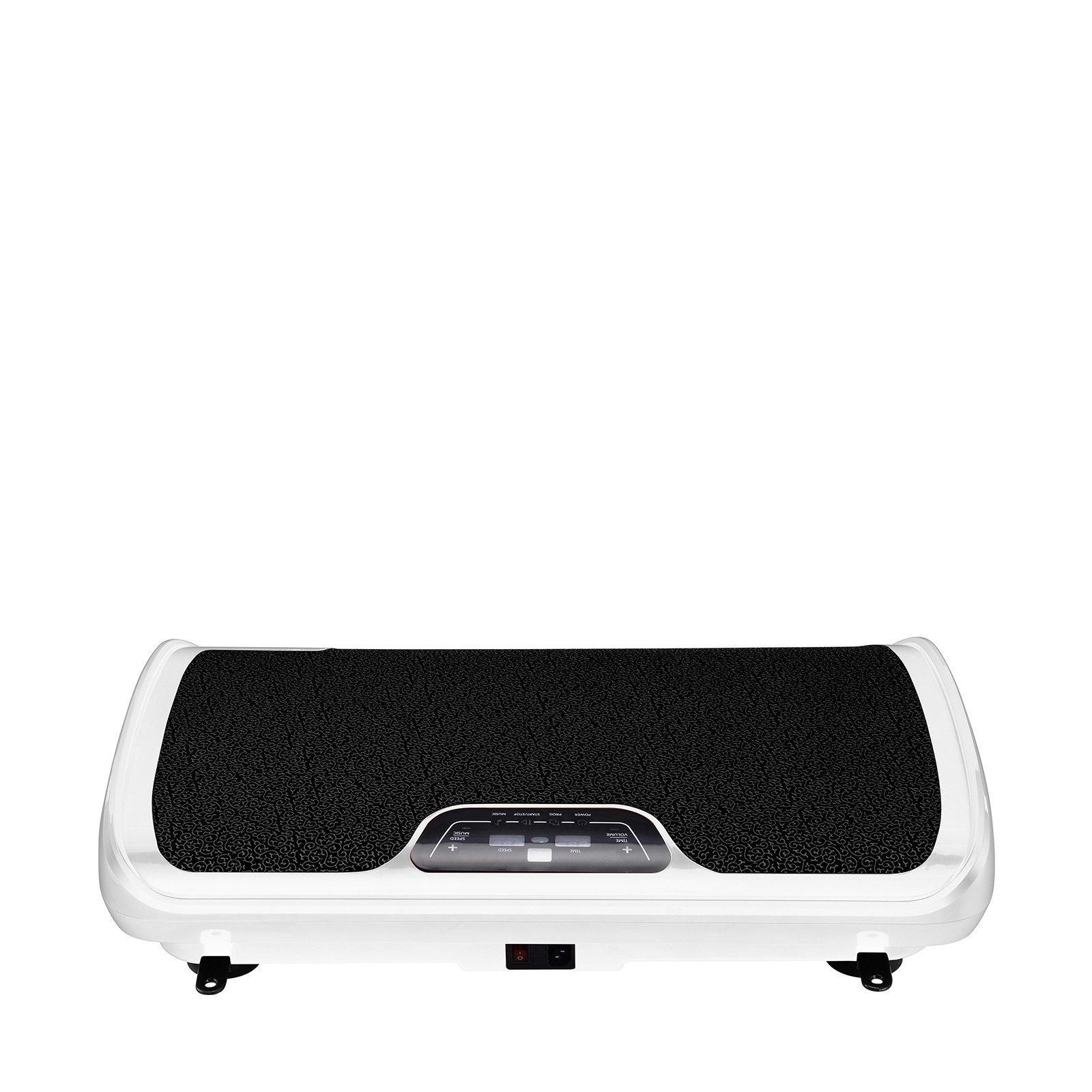 VibroSlim Tone Vibration Platform Fitness Machine, Oscillating Vibration Trainer + Free Workout DVD, Wall Chart & Resistance Bands (White)