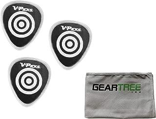 product image for Set of 3 V-Picks Bulls-Eye UnBuffed Ghost Rim Clear Custom Guitar Picks w/Geart