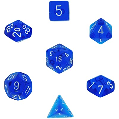 Chessex Polyhedral 7-Die Translucent Dice Set - Blue: Toys & Games