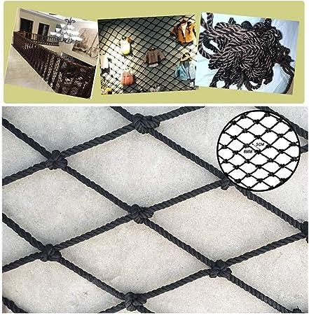 Red de cuerda de seguridad negra, Balcón escaleras redes anticaída, Red de barrera, Red de valla de jardín, Redes decorativas, Malla tejida multifuncional, 6 mm de diámetro (Size : 1*7m(3*22ft)) :
