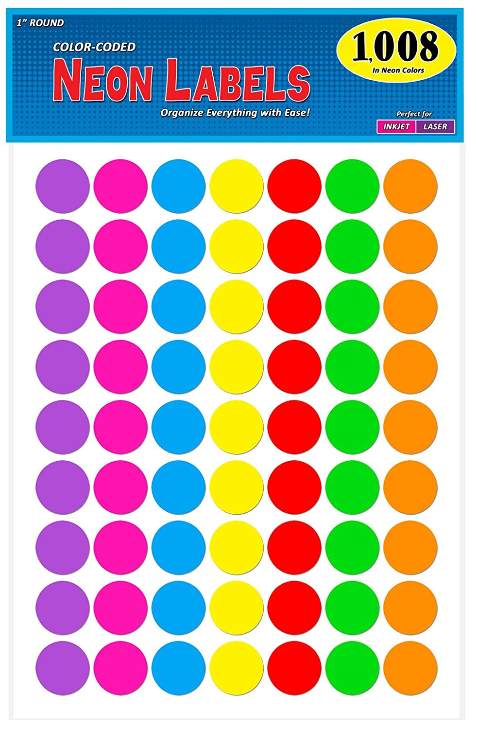 Pack Of 1008 1 Inch Diameter Round Color Coding Dot Labels 7 Bright Neon Colors Ebay