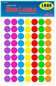 """Pack of 1008 1-inch Diameter Round Color Coding Dot Labels, 7 Bright Neon Colors, 8 1/2"""" x 11"""" Sheet, Fits All Laser/Inkjet Printers, 63 Labels per Sheet, 1"""""""