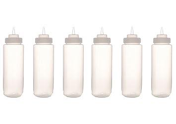 Paquete de 6 Unidades de Botellas Exprimibles para Mostaza, Ketchup, Aceite y Salsas,