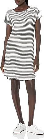 Marca Amazon - Daily Ritual: vestido de algodón terry súper suave con cuello de barco y manga dolman para mujer