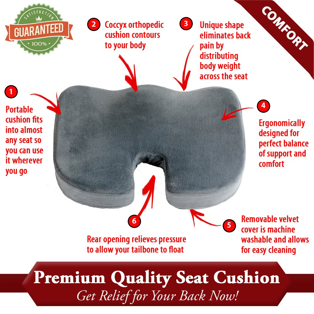 amazon com firm seat cushion for coccyx tailbone and back pain