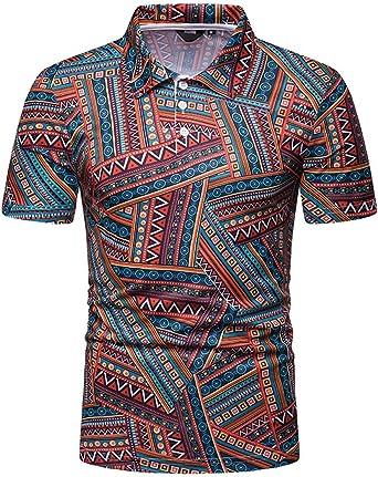 Camisa de Hombre Moda Casual Clásica Estilo Etnico Contraste para Colorear Solapa Joker Simple Camiseta de Manga Corta: Amazon.es: Ropa y accesorios
