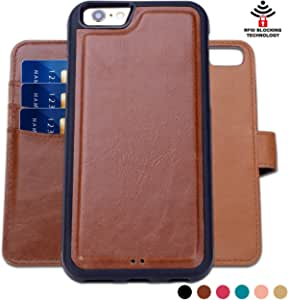 SHANSHUI Wallet Case Compatible with iPhone 5 5s se (2016), Detachable 2 in 1 Leather with 3 RFID Card Holders and 1 Cash Pocket with Slim Back Cover (Brown)