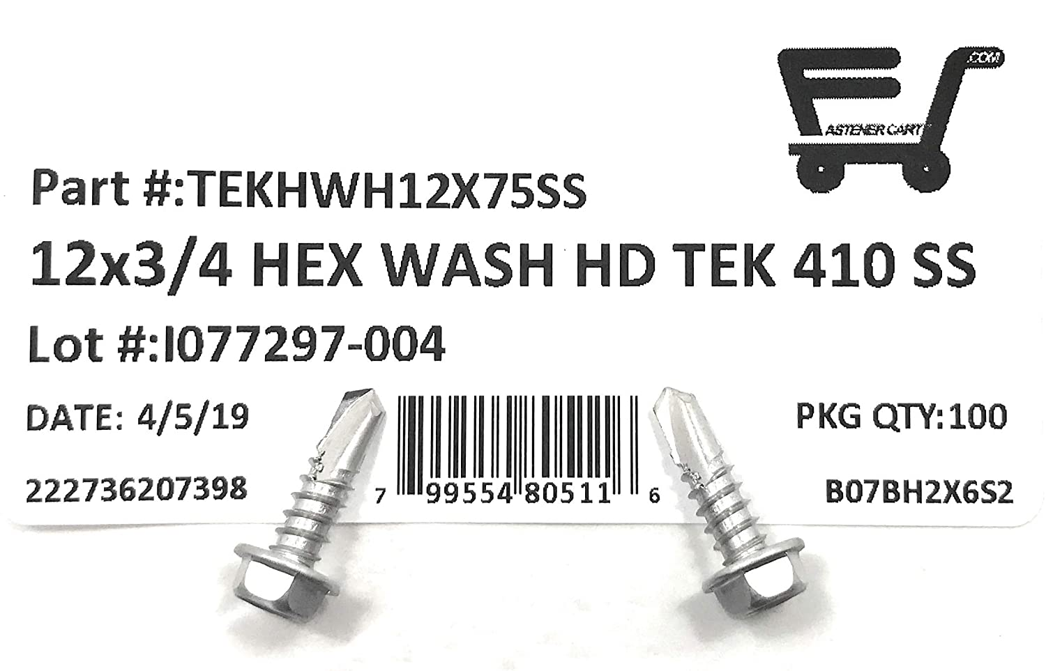 #12x3//4 Stainless Steel Hex Washer Head Self Drilling Tapping TEK Screw 410 Stainless Steel 100 Pieces 12x3//4 Quality MFG