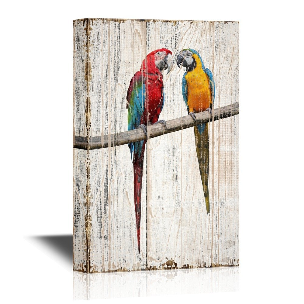 wall26 Birds and Poultry Canvas Wall Art - Two Colorful Parrots Lovers Standing on a Tree Branch - Vintage Wood Style Giclee Print Gallery Wrap Modern Home Decor | Ready to Hang - 24x36 inches