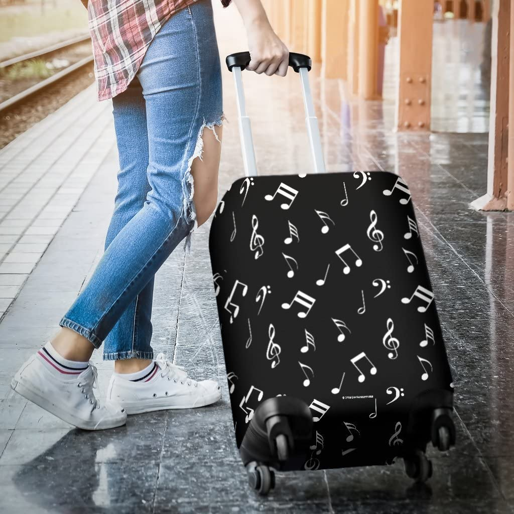 DealioHound Musical Notes Design #1 Black Rolling Travel Luggage Cover//Protector