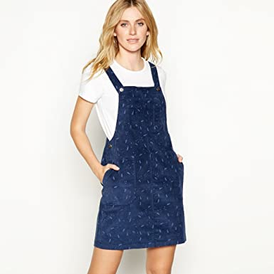 d0cca601f65 Mantaray Womens Navy Leaf Print Cotton Corduroy Mini Pinafore Dress 18   Mantaray  Amazon.co.uk  Clothing