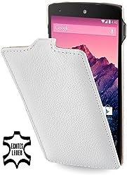 StilGut, UltraSlim, pochette exclusive en cuir véritable pour le Google Nexus 5, blanc