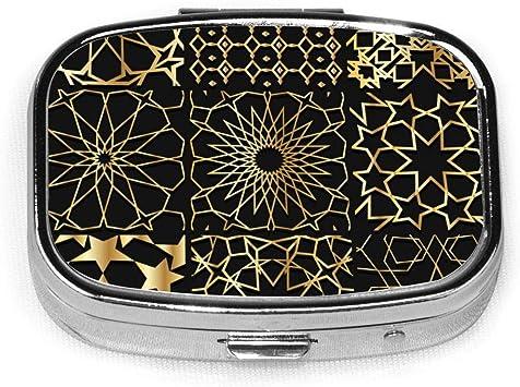 Arabesque Gold Pattern Background Collection Pastilleros, estuche portátil rectangular de metal plateado para pastillas, Compact 2 Space, estuches para pastillas: Amazon.es: Salud y cuidado personal
