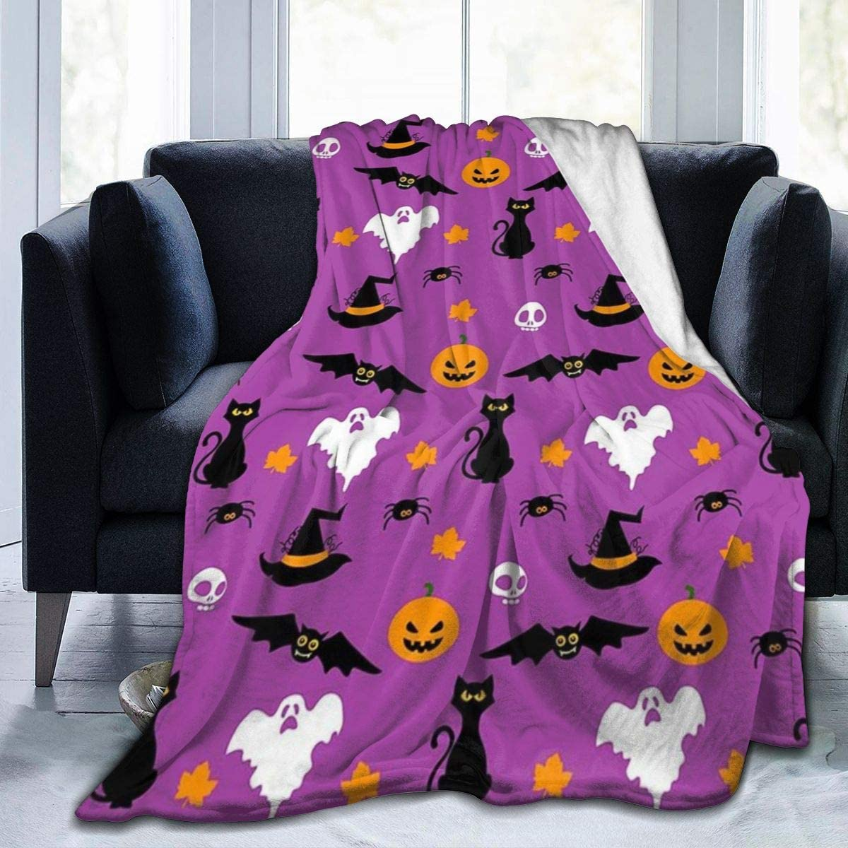 """MSGUIDE Halloween Blanket Throw Ghost Pumpkin Air Conditioner Quilt for Sofa Bed Couch Living Room Bedroom Office Travel 50""""x40"""""""