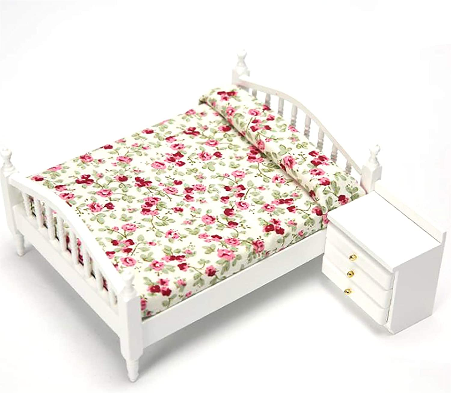 RUIYELE 1/12 Wooden Miniature Double Bed and Bedside Table, Mini Dollhouse Bedroom Miniature Furniture Model, Simulation Tiny Double Bed Kids Toy DIY Home Decoration Gifts (Style 3)