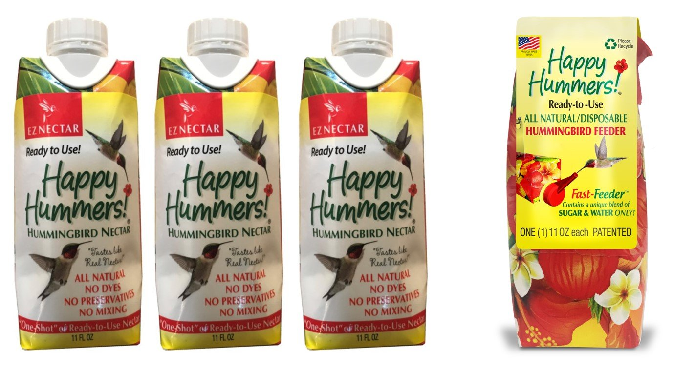 EZNectar Hummingbird Ready-to-Use Nectar 11 oz One-Shot Refill (3) and 11 oz. Fast-Feeder (1) Combo Pack, 44 fl. oz, 4 Piece