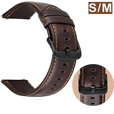 Correa Reloj 22mm Cuero compatible para Samsung Galaxy Watch 46mm / Gear S3 Frontier / Classic, Ticwatch Pro, Huawei Watch GT Smartwatch Pulseras de ...