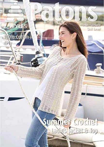 1703ef3f9 Ladies Crochet Top and Jacket in Patons 100% Cotton 4 Ply  Amazon.co.uk   Kitchen   Home