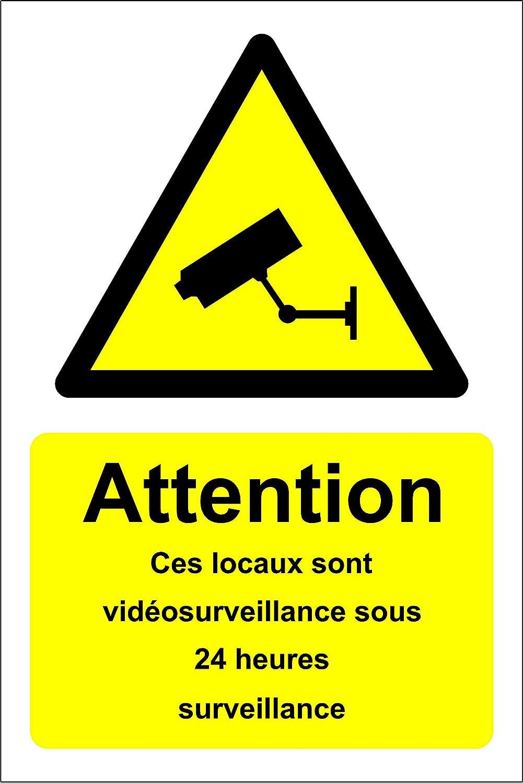 Avertissement Ces locaux sont sous 24 Heures signalétique de sécurité de Surveillance CCTV - Autocollant 300mm x 200mm KPCM Display ltd