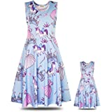 "ModaIOO Matching Dolls & Girls Dress,Unicorn Mermaid Butterfly Sleeveless Dresses for Kids,18"" Doll Clothes"