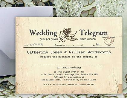 Partecipazioni Matrimonio Informali.Inviti Per Matrimonio 40 Inviti Telegram Stile Vintage Grande