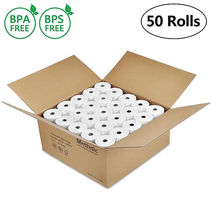 Rollos de papel térmico (80 x 80 mm) 50 Rolls: Amazon.es: Oficina ...