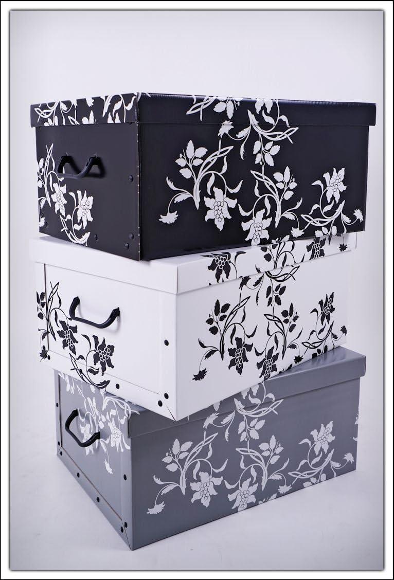 Juego de 3cajas dealmacenamiento de Spetebo, 3 colores (blanco, negro y gris), 45 l cada una, estilo floral barroco