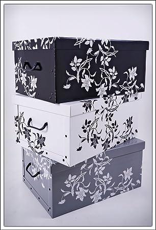 Juego de 3 cajas de almacenamiento de Spetebo, 3 colores (blanco ...