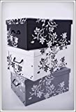 Set of 3 Storage in 3 Colours (White, Black and Grey 45 Litre Capacity – Floral Pattern Baroque Style
