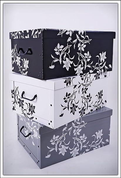 Juego de 3 cajas de almacenamiento de Spetebo, 3 colores (blanco, negro y