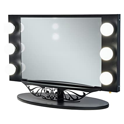 Amazon starlet lighted vanity mirror gloss black home kitchen starlet lighted vanity mirror gloss black aloadofball Image collections