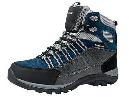 775d9d5cc89d74 Riemot Damen Trekking-   Wanderstiefel Wasserdicht Outdoor Wanderschuhe  Trail-Stiefel Grau-Blau 36