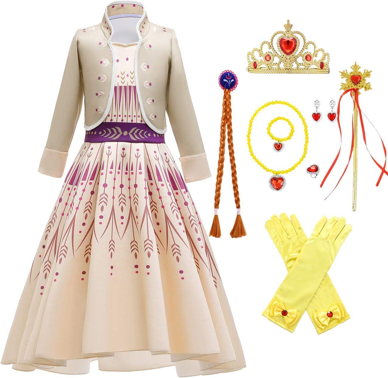 O.AMBW Elsa disfraz niña Anna Princess falda amarilla 2 piezas conjunto vestido de noche Halloween Navidad fiesta cumpleaños mascarada película cosplay disfraz copo de nieve palillo corona peluca 3-10