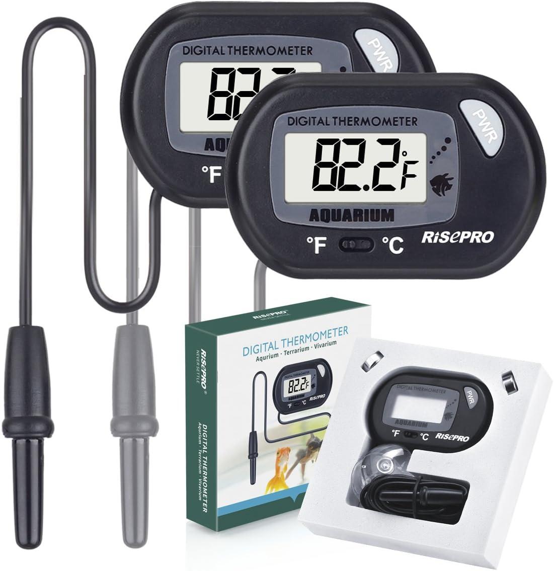 RISEPRO Acuario Termómetro, 2 Pack Digital termómetro de Agua para Fish Tank Acuario Marino Temperatura Vivarium terrario Reptil