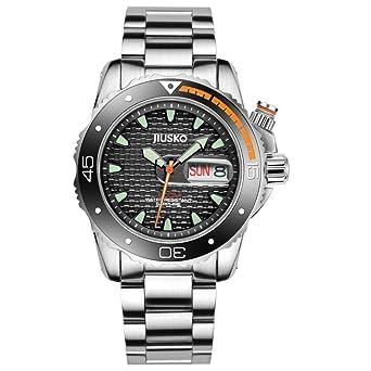 ... Dive Watch Set - 300m Diver - Sapphire - Stainless Steel Bracelet and Black Rubber Strap Set - Black Dial - Big Day Date - 120LB02: JIUSKO: Watches