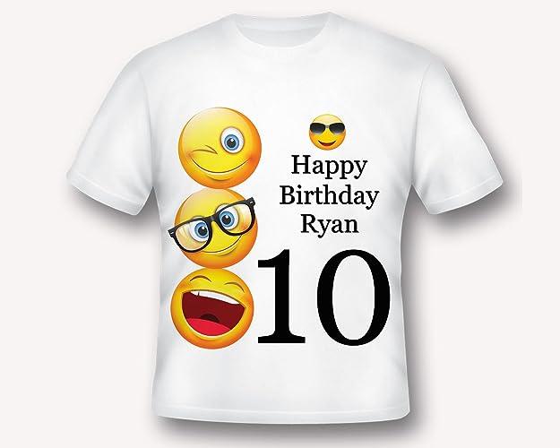 Personalized Emoji Birthday T Shirt Tee Printed White