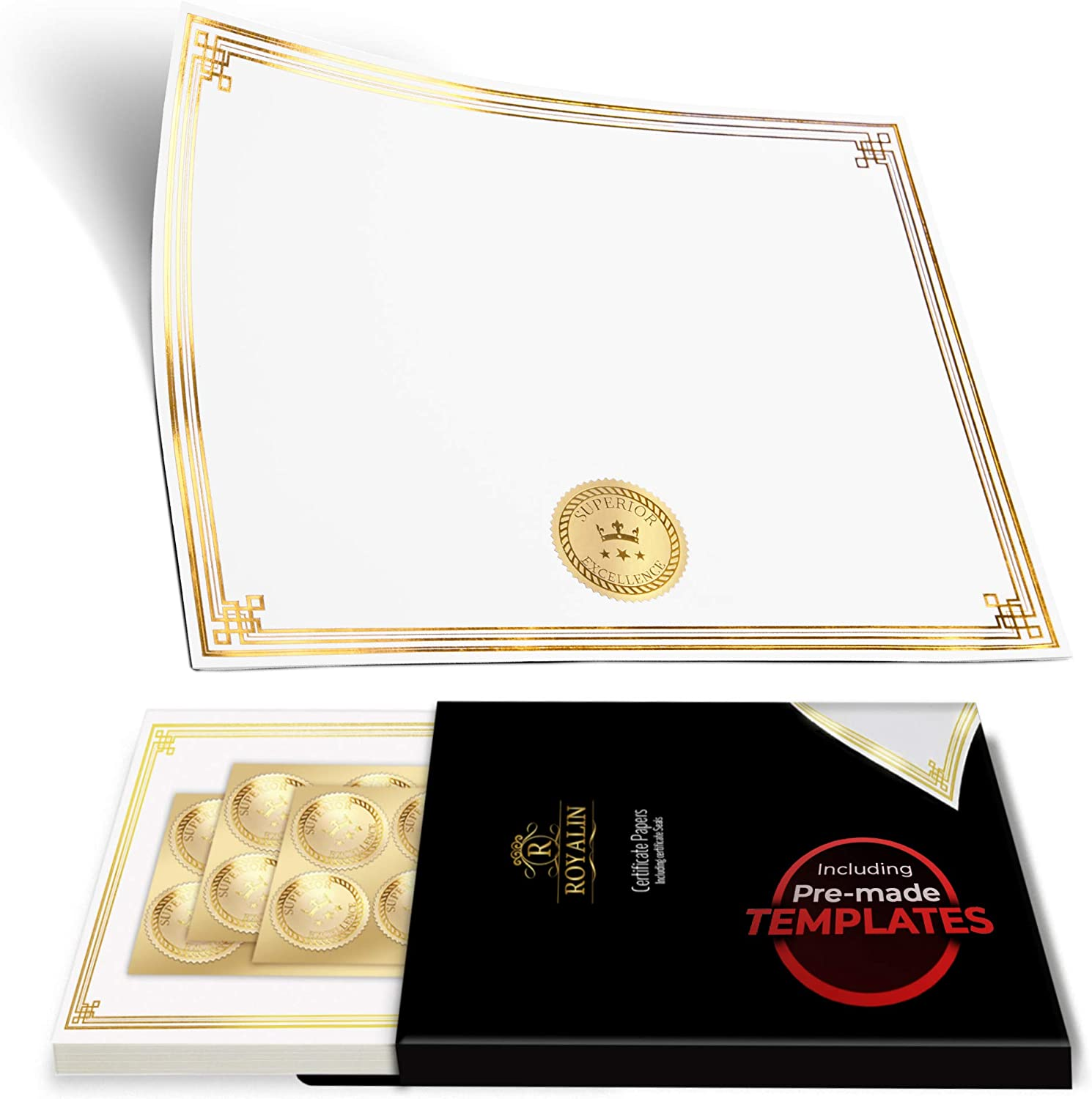 100 Professional Award Certificate Paper 8.5 x 11 with Seals, Gold Foil Border, Blank. Laser, Inkjet Printable 71qv4-3AARL