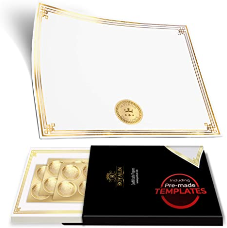 100 Professional Award Certificate Paper 8 5 X 11 With Seals Gold Foil Border Blank Laser Inkjet Printable