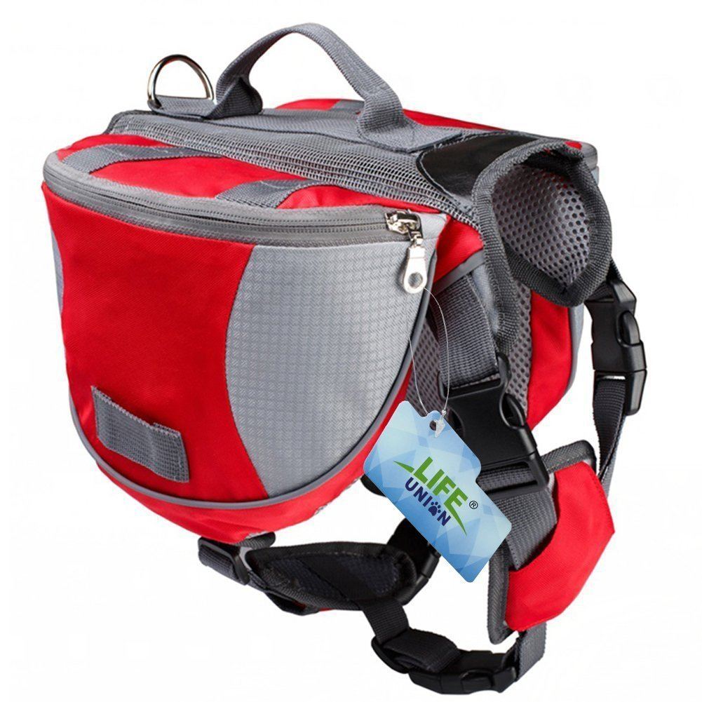 Lifeunion Saddle Bag Backpack for Dog, Tripper Hound Bag Travel Hiking Camping (Red + Grey, L)