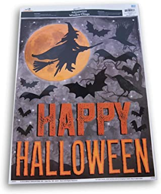 Spooky Town Happy Halloween Witch and Bats Static Window Clings - 13 Pieces - 11.75 x