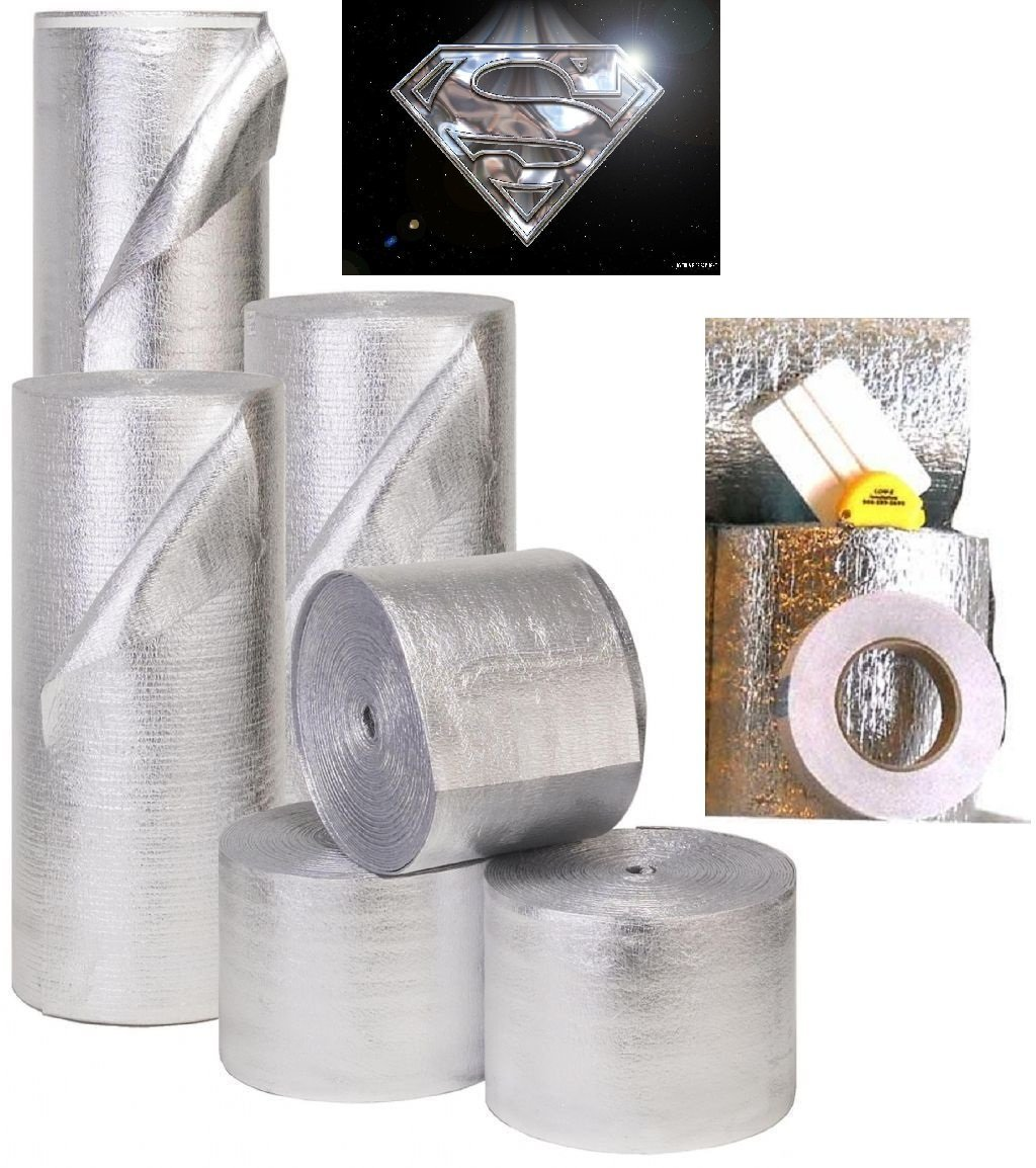 Supershield Multipurpose 24'' x 50' 100sqft Reflective Foam Core DIY Insulation Weatherization Kit Includes Foil Tape, Knife, and Squeegee - Water Proof/Meets Fire Codes/Made in USA