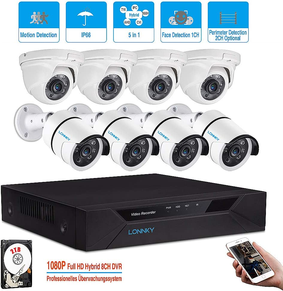 LONNKY 8CH 1080P Security Camera System,Outdoor with 2TB Hard Drive Pre-Install CCTV Recorder and 8 2.0MP Waterproof Outdoor Indoor Camera,Motion Alert, Smartphone, PC Easy Remote Access
