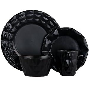 Elama ELM-RETROCHIC Retro Chic 16-Piece Glazed Dinnerware Set in Black 16pc