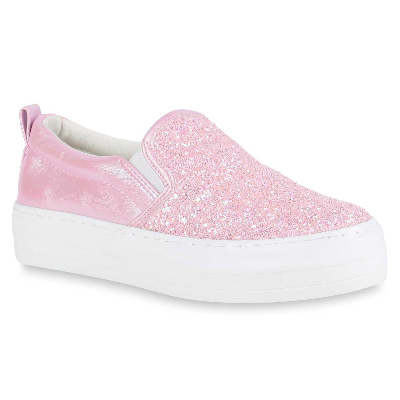 Stiefelparadies Damen Sneaker Slip Ons mit Plateau Glitzer Flandell  38 EU Rosa Glitzer Plateau