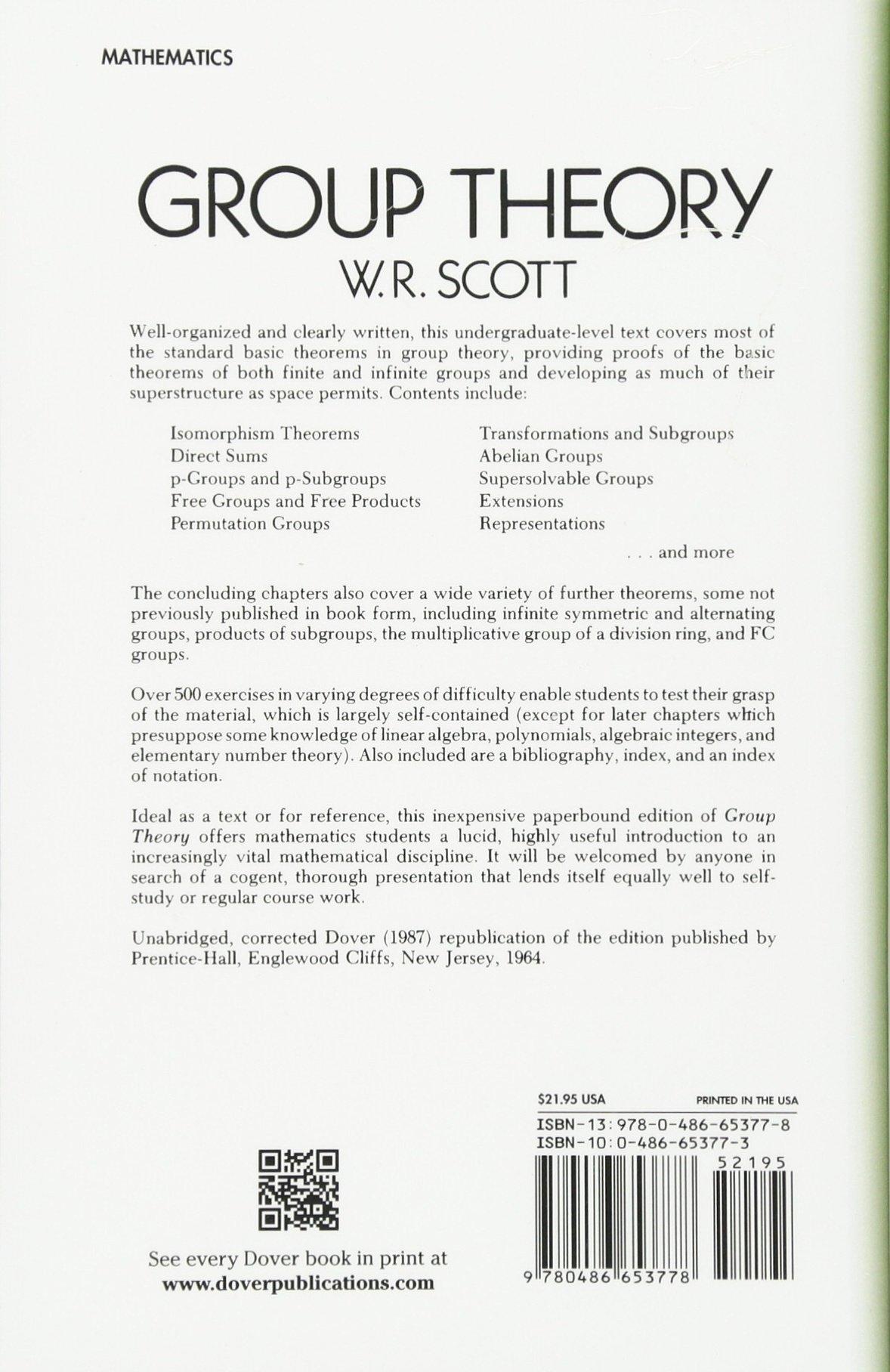 Group Theory (Dover Books on Mathematics): W. R. Scott ...